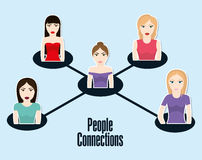 People design. Connection icon. Colorfull illustration, graphic Stock Images