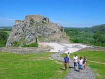 People in the Devin castle, Slovakia Royalty Free Stock Image