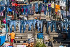 People at Dhobi Ghat Stock Photos
