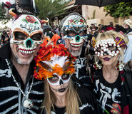 People in Dia De Los Muertos Masks and Makeup Royalty Free Stock Photos