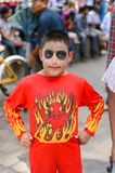 People on the Dia de los Muertos in Mexico. OAXACA, MEXICO - OCT 31, 2016: Unidentified boy dressed for the Day of the Dead (Dia de los Muertos), national Stock Image