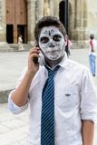 People on the Dia de los Muertos in Mexico. OAXACA, MEXICO - OCT 31, 2016: Unidentified boy dressed for the Day of the Dead (Dia de los Muertos), national Royalty Free Stock Photos