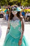 People on the Dia de los Muertos in Mexico. OAXACA, MEXICO - OCT 31, 2016: Unidentified girl dressed and painted for the Day of the Dead (Dia de los Muertos) Royalty Free Stock Photos