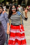 People on the Dia de los Muertos in Mexico. OAXACA, MEXICO - OCT 31, 2016: Unidentified girl dressed and painted for the Day of the Dead (Dia de los Muertos) Royalty Free Stock Photography