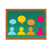 People and dialogues in blackboard Stock Images