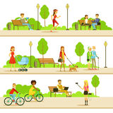 People Different Activities Outdoors Set Of Illustrations Stock Photo