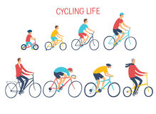 People of different age and style riding a bicycle. Growing up with cycle. Healthy lifestyle illustration. Editable vector format Stock Image