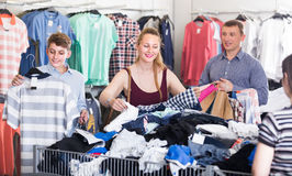 People of different ages at the clearance sale royalty free stock photos