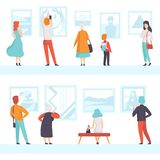 People of different ages looking at the pictures hanging on the wall, exhibition visitors viewing museum exhibits at art. Gallery, back view vector Illustration vector illustration