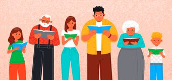 People of different ages read books. Poster for a book exhibition. Vector illustration in flat style stock illustration