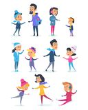 People of Different Ages Skating on Icerink. Royalty Free Stock Photos