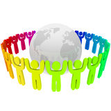 People of Different Colors Around Earth Stock Image