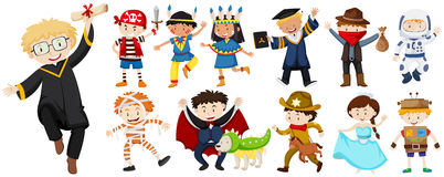 People in different costumes Stock Images