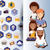 People of different ethnic groups with social media icons. Vector illustration design Royalty Free Stock Photos