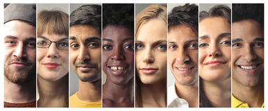 People with different expressions. Portrait of happy people with different expressions Royalty Free Stock Photography