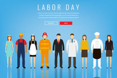 People of different occupations. Professions set. International Labor Day. Concept website template. Flat Vector Royalty Free Stock Images