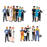 People different profession. Man and woman vector illustration set Royalty Free Stock Photos