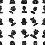 People of different profession pattern icons in black style. Big collection of people of different profession vector. People of different profession pattern Stock Images