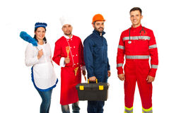 People with different profession. People in a row with different profession isolated on white background Royalty Free Stock Images