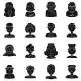 People of different profession set icons in black style. Big collection of people of different profession vector symbol. People of different profession set icons Stock Images