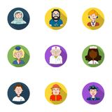 People of different profession set icons in flat style. Big collection of people of different profession symbol Royalty Free Stock Photography
