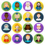 People of different profession set icons in flat style. Big collection of people of different profession vector symbol Royalty Free Stock Images