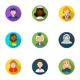 People of different profession set icons in flat style. Big collection of people of different profession vector symbol Royalty Free Stock Image