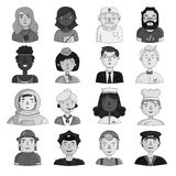 People of different profession set icons in monochrome style. Big collection of people of different profession vector. People of different profession set icons Stock Image