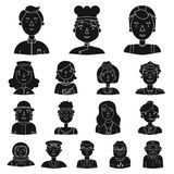People of different professions black icons in set collection for design. Worker and specialist vector symbol stock web. People of different professions black Stock Image