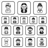 People of different professions black icons in set collection for design. Worker and specialist vector symbol stock web. People of different professions black Royalty Free Stock Photos