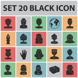 People of different professions black icons in set collection for design. Worker and specialist vector symbol stock web. People of different professions black Stock Images
