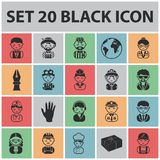 People of different professions black icons in set collection for design. Worker and specialist vector symbol stock web. People of different professions black Stock Photos