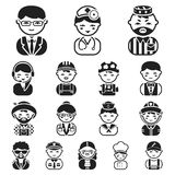 People of different professions black icons in set collection for design. Worker and specialist vector symbol stock web. People of different professions black Stock Photo