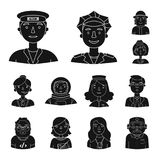 People of different professions black icons in set collection for design. Worker and specialist vector symbol stock web. People of different professions black Royalty Free Stock Image