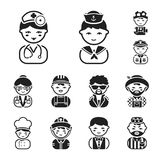 People of different professions black icons in set collection for design. Worker and specialist vector symbol stock web. People of different professions black Royalty Free Stock Photo