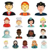 People of different professions cartoon icons in set collection for design. Worker and specialist vector symbol stock. Illustration Stock Image