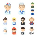 People of different professions cartoon icons in set collection for design. Worker and specialist vector symbol stock. Illustration Stock Images
