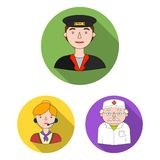 People of different professions flat icons in set collection for design. Worker and specialist vector symbol stock web vector illustration