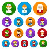 People of different professions flat icons in set collection for design. Worker and specialist vector symbol stock web. People of different professions flat Stock Images