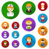 People of different professions flat icons in set collection for design. Worker and specialist vector symbol stock web. People of different professions flat Stock Photos