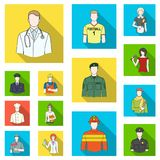 People of different professions flat icons in set collection for design. Worker and specialist vector symbol stock web. People of different professions flat Royalty Free Stock Photos