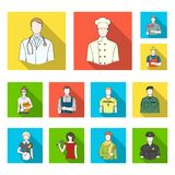 People of different professions flat icons in set collection for design. Worker and specialist vector symbol stock web. People of different professions flat Stock Photography