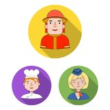 People of different professions flat icons in set collection for design. Worker and specialist vector symbol stock web. People of different professions flat Royalty Free Stock Images