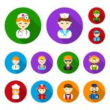 People of different professions flat icons in set collection for design. Worker and specialist vector symbol stock web. People of different professions flat Royalty Free Stock Photo