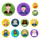 People of different professions flat icons in set collection for design. Worker and specialist vector symbol stock web. People of different professions flat Royalty Free Stock Image