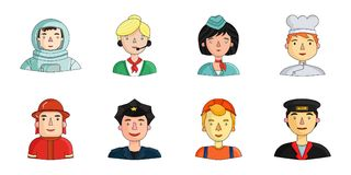 People of different professions icons in set collection for design. Worker and specialist vector symbol stock web Stock Photo