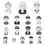 People of different professions monochrome icons in set collection for design. Worker and specialist vector symbol stock. Illustration Royalty Free Stock Photos