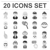 People of different professions monochrome icons in set collection for design. Worker and specialist vector symbol stock. Illustration Stock Image