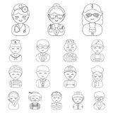 People of different professions outline icons in set collection for design. Worker and specialist vector symbol stock. Illustration Royalty Free Stock Images
