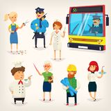 People of different professions. Set of cartoon characters of different professions. Variety of people doing their jobs. Isolated vector illustrations Royalty Free Stock Image